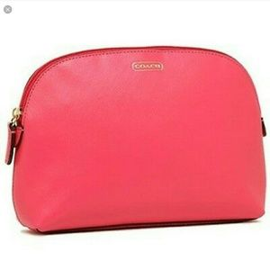 Coach Coral Pink Crossgrain Leather Cosmetic Bag